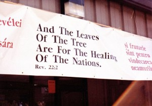 Banner at Eastern European Festival, 1990, Church of the Apostles. (Photo Credit: Faith J. H. McDonnell)