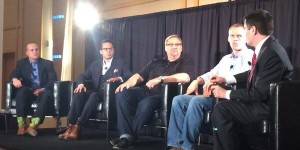 From left to right, Phillip Bethancourt, Samuel Rodriguez, Rick Warren, David Platt, and Russell Moore participate in an ERLC panel on religious liberty. (Photo credit: Mark Kellner)