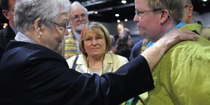 Our bishops responded in a very weak and enabling way to protesters' bullying takeover of the last General Conference (Photo credit: UMNS / John Goodwin)